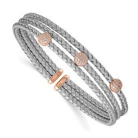 Sterling Silver & Rose Gold-plated CZ Flexible Cuff