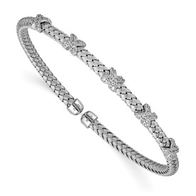 Sterling Silver Rhod-plat Polished CZ X Woven Flexible Cuff