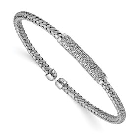 Sterling Silver Rhod-plat Polished CZ Woven Flexible Cuff