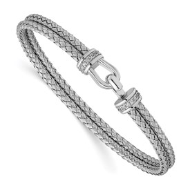 Sterling Silver Rhod-plat Polished CZ Double Woven Flexible Cuff