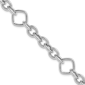 Sterling Silver Rhod-plated Polished Textured Fancy Link Bracelet