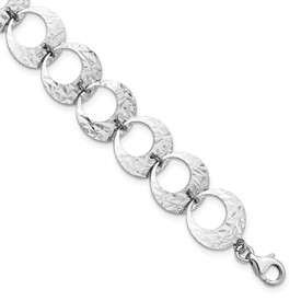 Sterling Silver Rhodium-plated Polished D/C w/1 in ext Bracelet