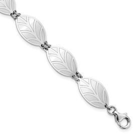 Sterling Silver Rhod-plate Brushed/Polished w/1 in ext Leaf Bracelet
