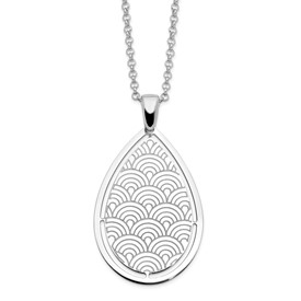 Sterling Silver Brushed/Polished Laser Cut w/2 in ext Necklace