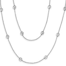 Sterling Silver Rhod-plat Polished Beaded w/1.5 in ext Necklace