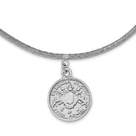 SS Rhod-plat Polished Elizabeth II Medal w/1.5 in ext Necklace