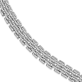 Sterling Silver Rhodium-plated Polished Fancy Link Bracelet