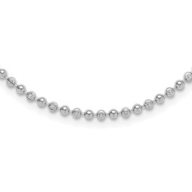 Sterling Silver Rhodium Plated Diamond Cut Beaded Necklace