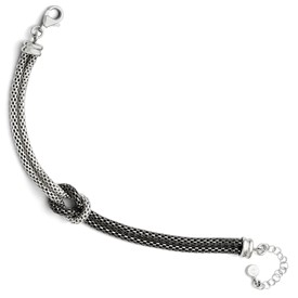 Sterling Silver Ruthenium Plated Mesh w/ 1.5in ext. Bracelet