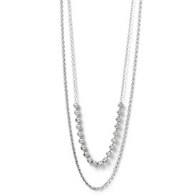 SS Diamond-cut Two Layer w/ 2 ext. Beaded Necklace
