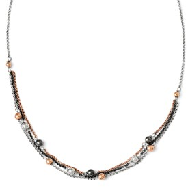 Sterling Silver, Ruthenium & Rose Gold-plated D/C Necklace