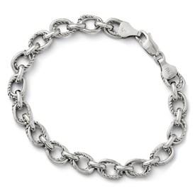 Sterling Silver Polished and Textured Link Bracelet
