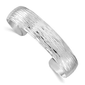 Sterling Silver Polished and Textured Slip-on Bangle