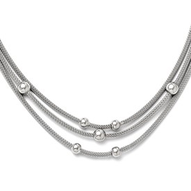 Sterling Silver Polished Beaded Mesh Necklace