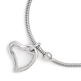 Sterling Silver Polished Heart Anklet w/1in ext