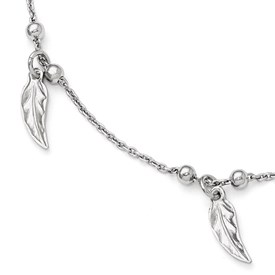 Sterling Silver Polished Feather Anklet w/1in ext
