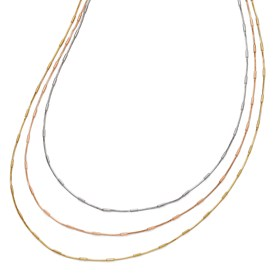 Sterling Silver Rose & Yellow Gold-plated 3 Strand Necklace
