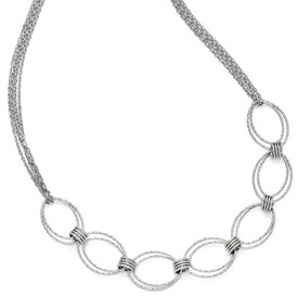 Sterling Silver Fancy Link Necklace w/2in ext