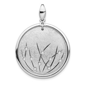 Sterling Silver Polished and Brushed Crystal Pendant