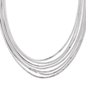 Sterling Silver Herringbone 7 Strand Necklace