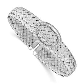 Sterling Silver CZ Woven Flexible Cuff