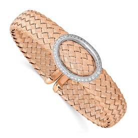 Sterling Silver CZ Rose Gold-plated Woven Flexible Cuff