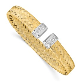 Sterling Silver Gold-plated CZ Woven Flexible Cuff