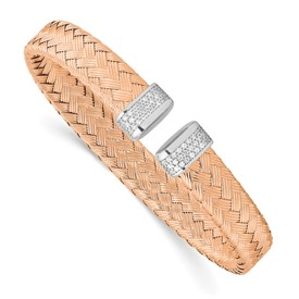 Sterling Silver Rose Gold-plated CZ Woven Flexible Cuff