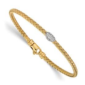 Sterling Silver Gold-tone CZ Woven Bracelet
