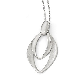 Sterling Silver Polished and Brushed w/2in ext. Necklace