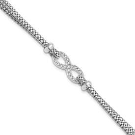 Sterling Silver CZ Infinity w/1.5in ext. Bracelet