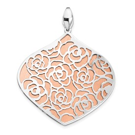 Sterling Silver Rose and White Polished Textured Pendant