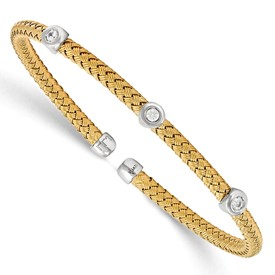 Sterling Silver Yellow Rhodium CZ Woven Flexible Cuff