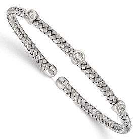 Sterling Silver Rhodium-plated CZ Woven Flexible Cuff