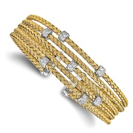 Sterling Silver Gold-tone CZ Woven Flexible Cuff