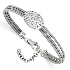 Sterling Silver CZ Polished Bracelet w/1in ext.