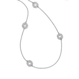 Sterling Silver Matte D/C 5-station Necklace