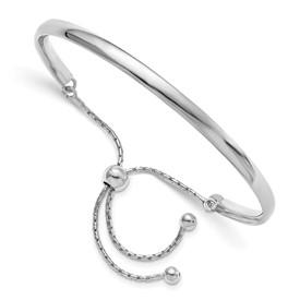Sterling Silver Polished Adjustable  Bangle
