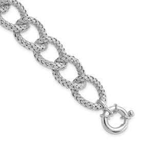 Sterling Silver Polished Textured Bracelet- Fancy Spring Ring