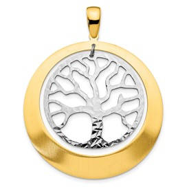 Sterling Silver and Gold-tone Textured Tree Pendant