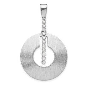 Sterling Silver Scratch-finish CZ Pendant