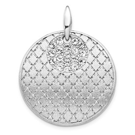 Sterling Silver Brushed Preciosa Crystal Pendant