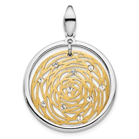 Sterling Silver Gold-tone Polished Scratch-finish CZ Pendant