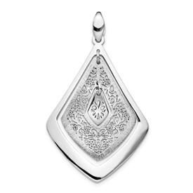 Sterling Silver Polished Scratch-finsh Filigree Pendant