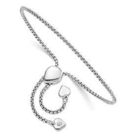 Sterling Silver Round Rectangle Box Heart Adjustable Bracelet