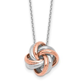 Sterling Silver Rose Rhodium-plated Necklace