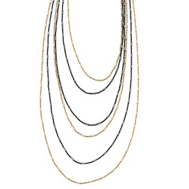 Sterling Silver Gold/Black Rhodium-plated 1in ext. Necklace