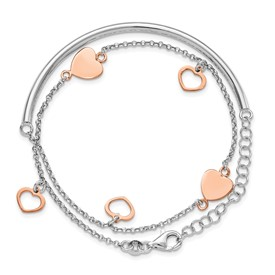 Sterling Silver Rose Gold-plated Hearts w/2in ext. Wrap Bracelet