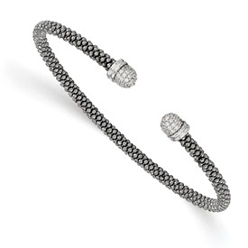 Sterling Silver Ruthenium-plated CZ Cuff Bangle