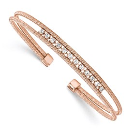 Sterling Silver Rhodium-plated Rose Gold-plated CZ Woven Cuff